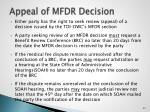 appeal of mfdr decision