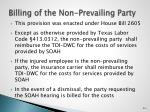 billing of the non prevailing party