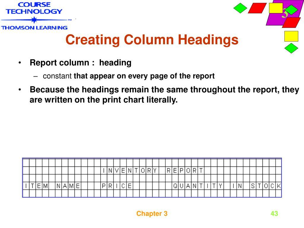Creating Column Headings