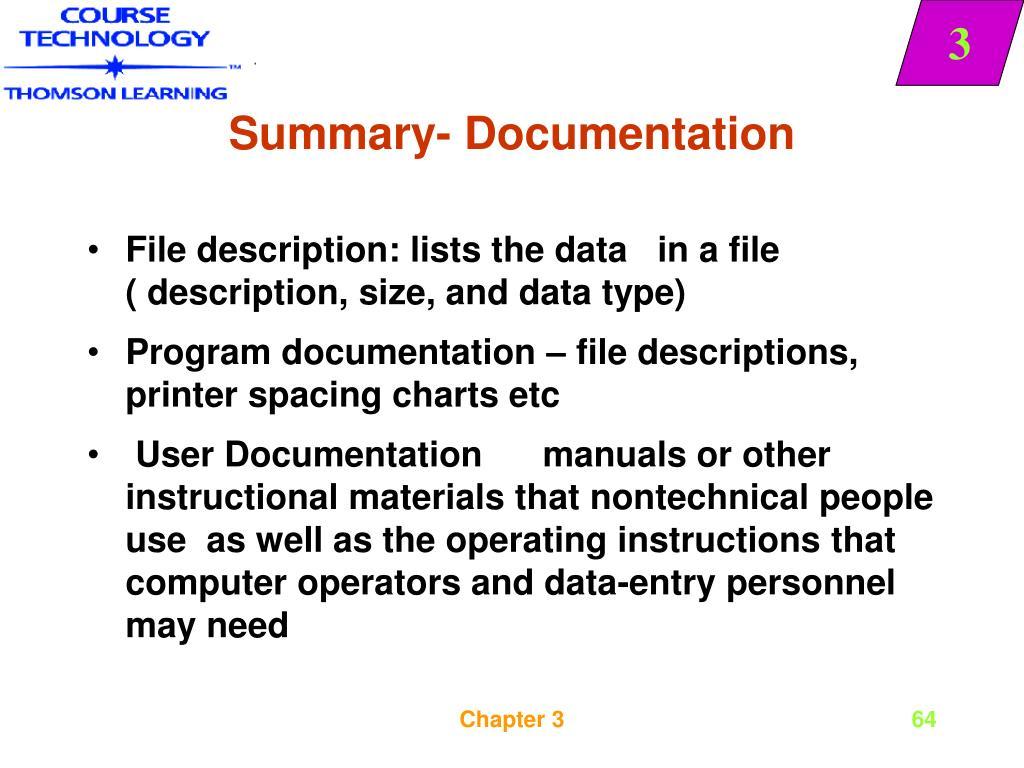 Summary- Documentation
