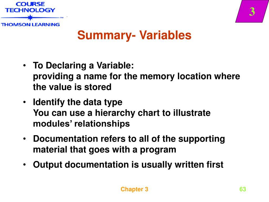 Summary- Variables