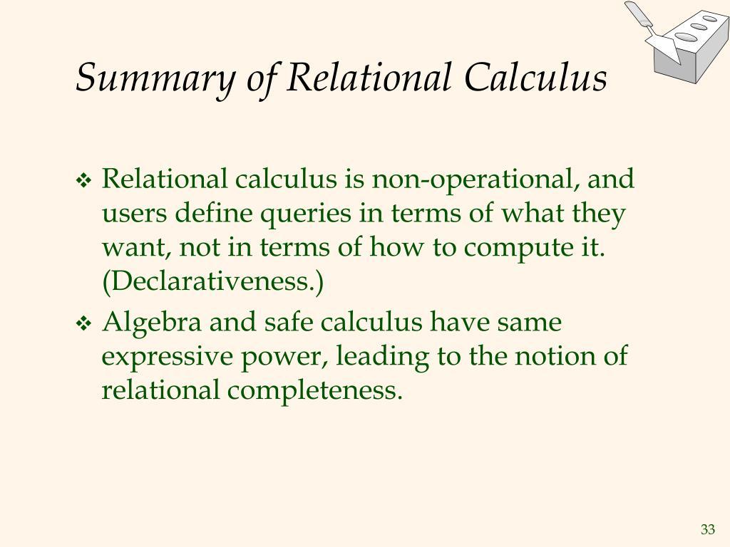 Summary of Relational Calculus
