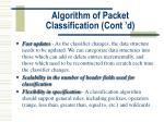 algorithm of packet classification cont d