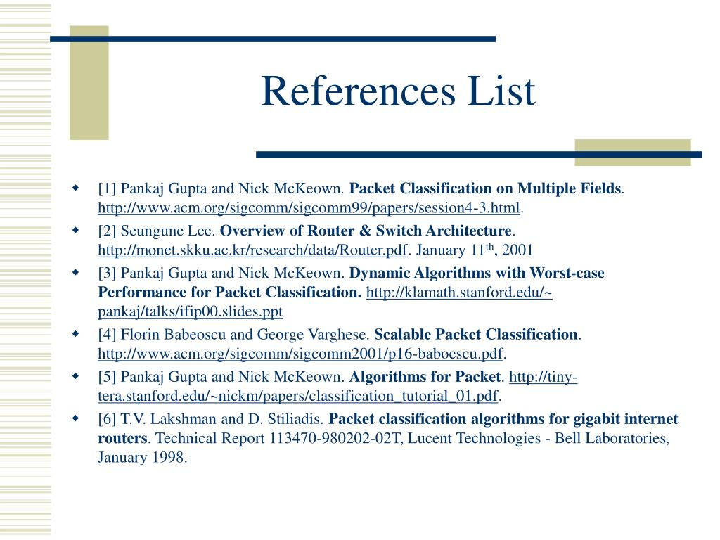 References List