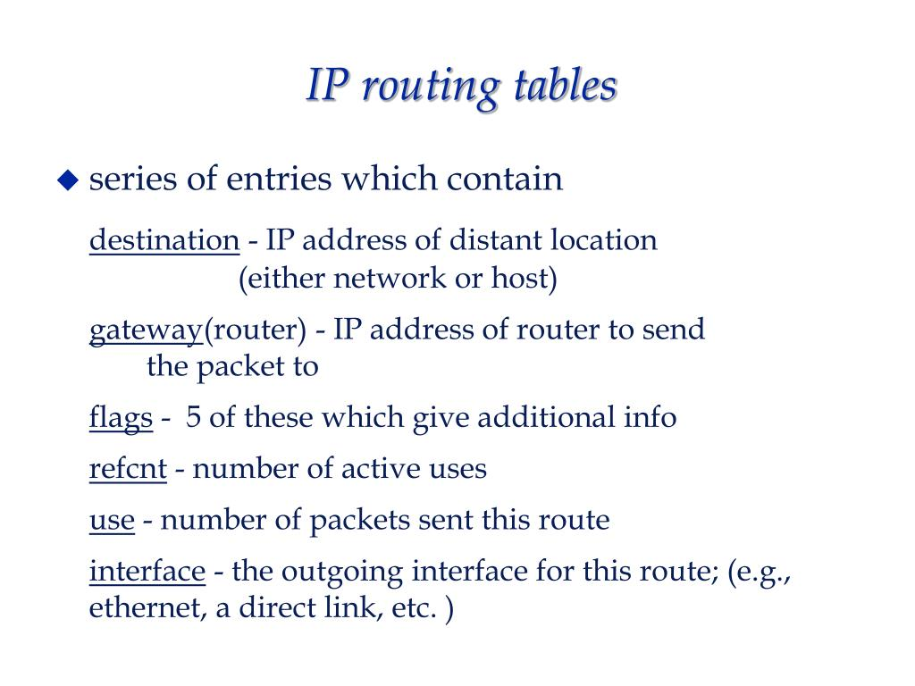 IP routing tables