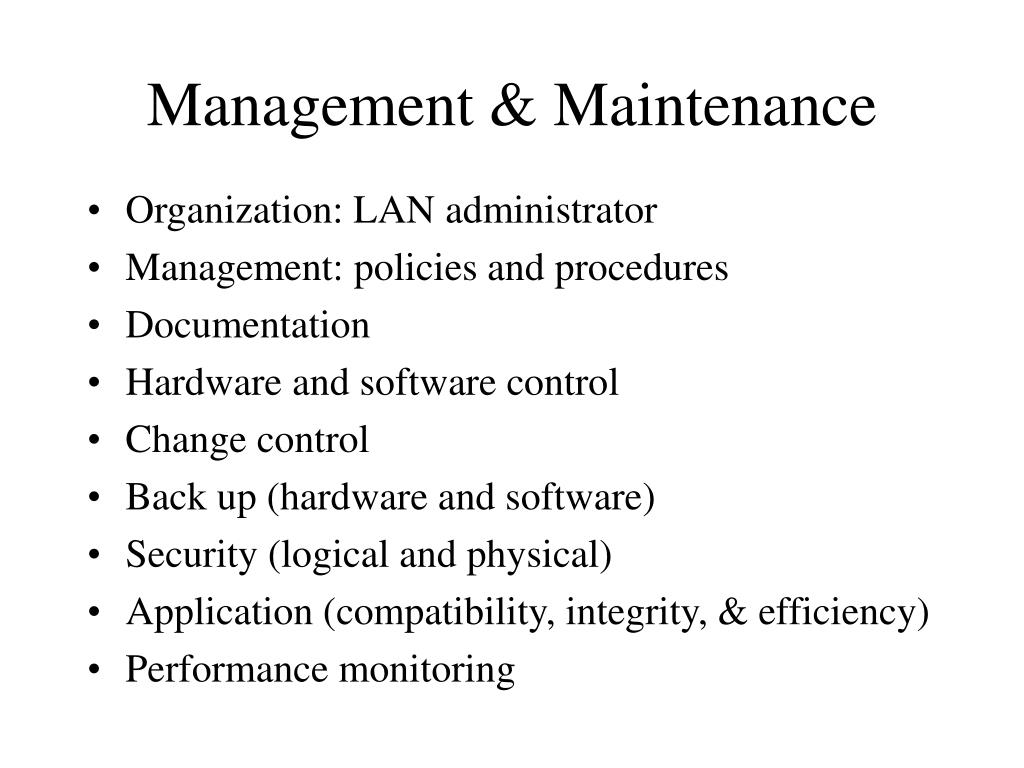 Management & Maintenance