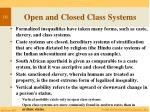 open and closed class systems