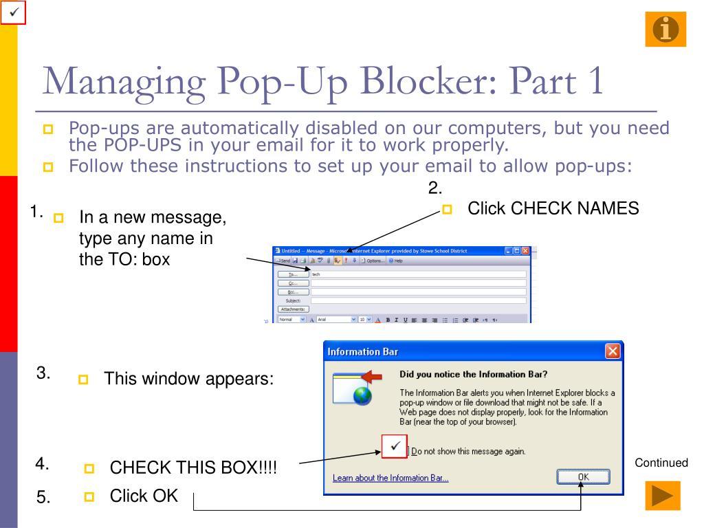 Managing Pop-Up Blocker: Part 1