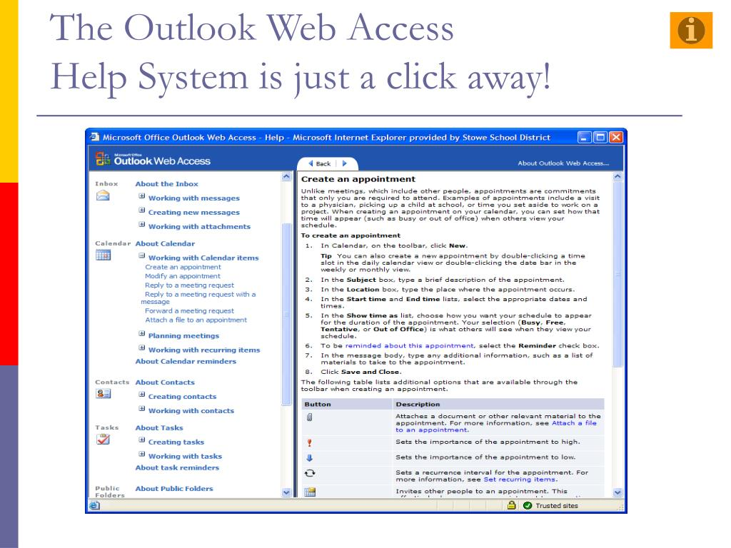The Outlook Web Access