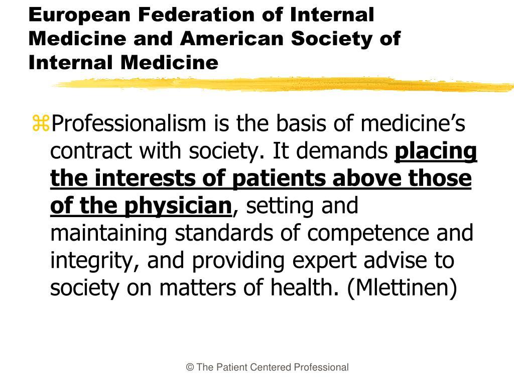 European Federation of Internal Medicine and American Society of Internal Medicine