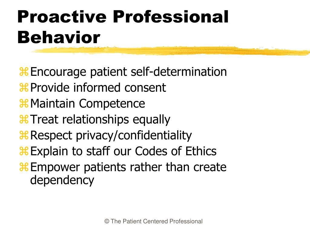 Proactive Professional Behavior