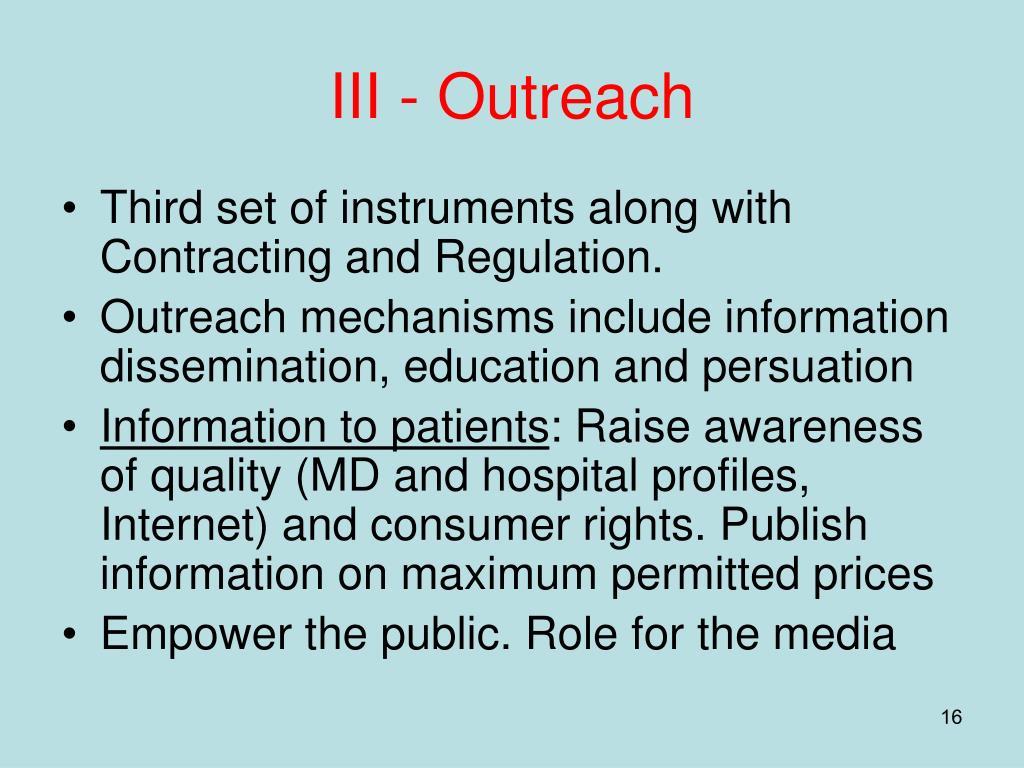 III - Outreach