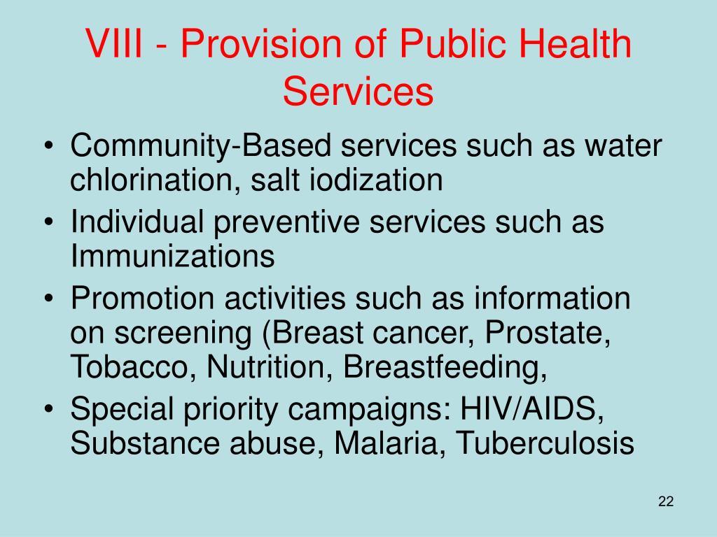 VIII - Provision of Public Health Services