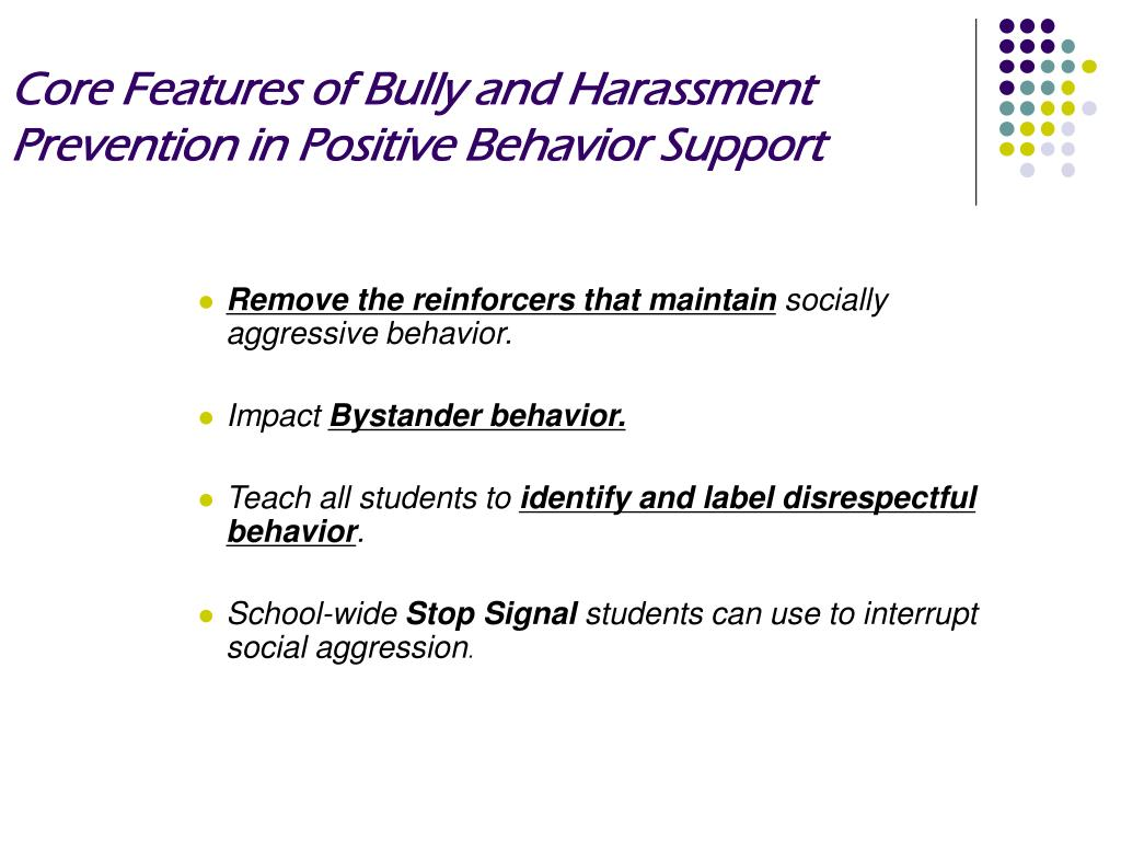 Core Features of Bully and Harassment Prevention in Positive Behavior Support