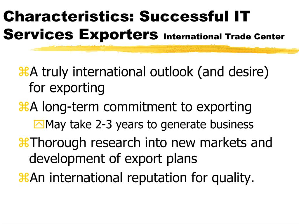 Characteristics: Successful IT Services Exporters