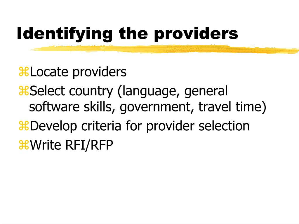 Identifying the providers