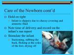 care of the newborn cont d
