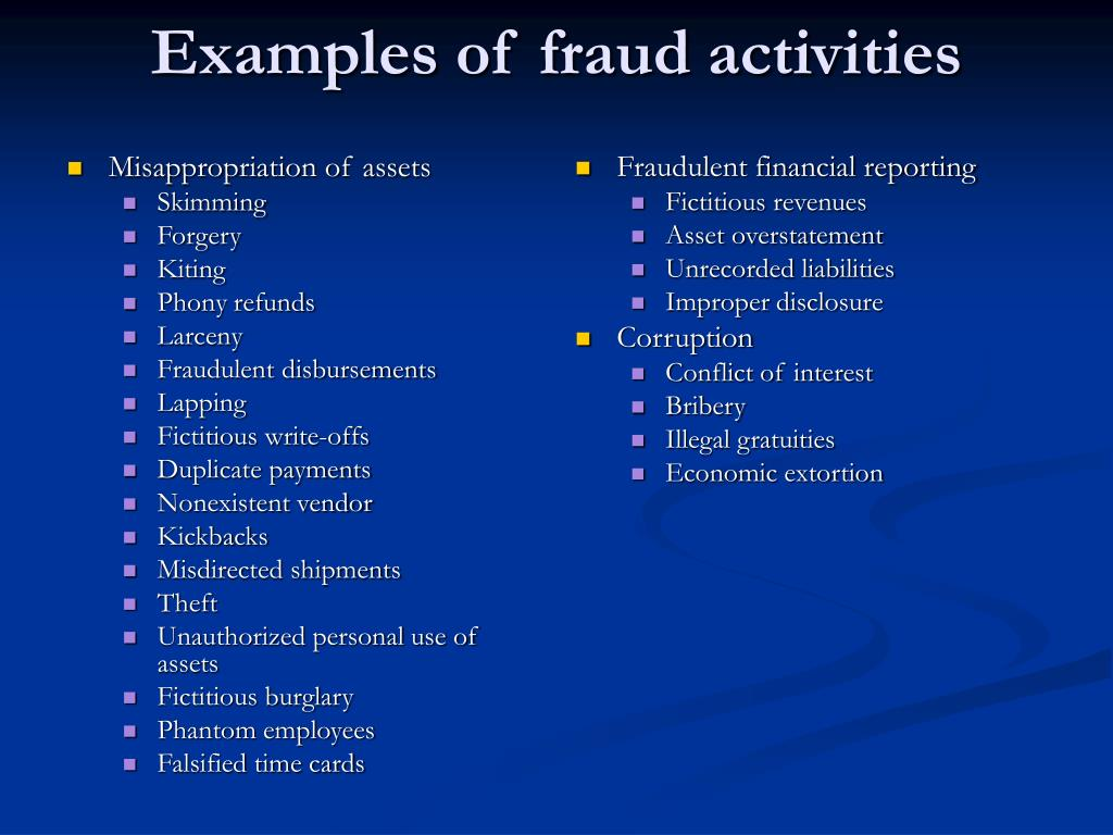 Examples of fraud activities