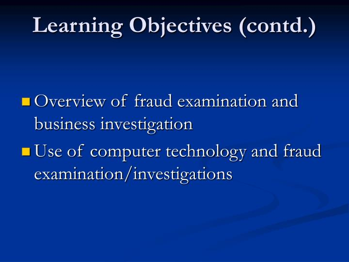 Learning objectives contd