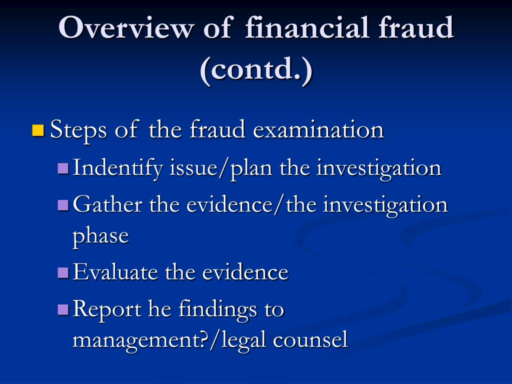 Overview of financial fraud (contd.)