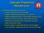 operator preventive maintenance