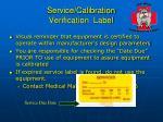 service calibration verification label
