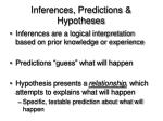 inferences predictions hypotheses