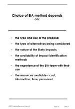 choice of eia method depends on