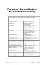 examples of threshold tests for environmental acceptability