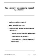 key elements for assessing impact significance