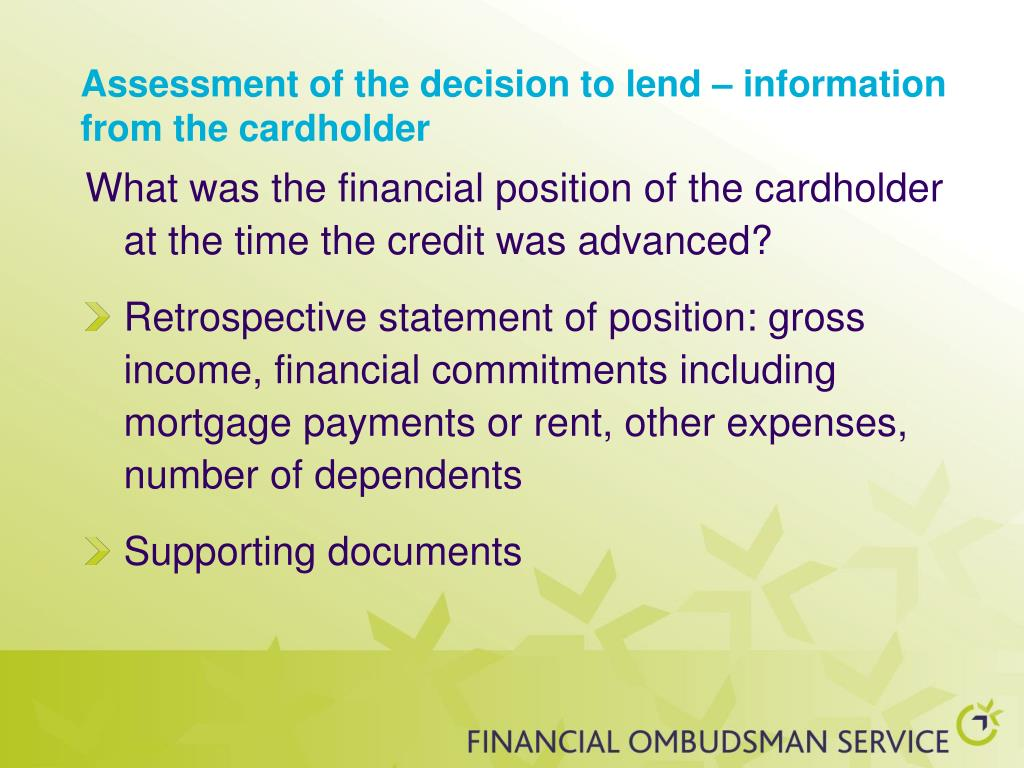 Assessment of the decision to lend – information from the cardholder