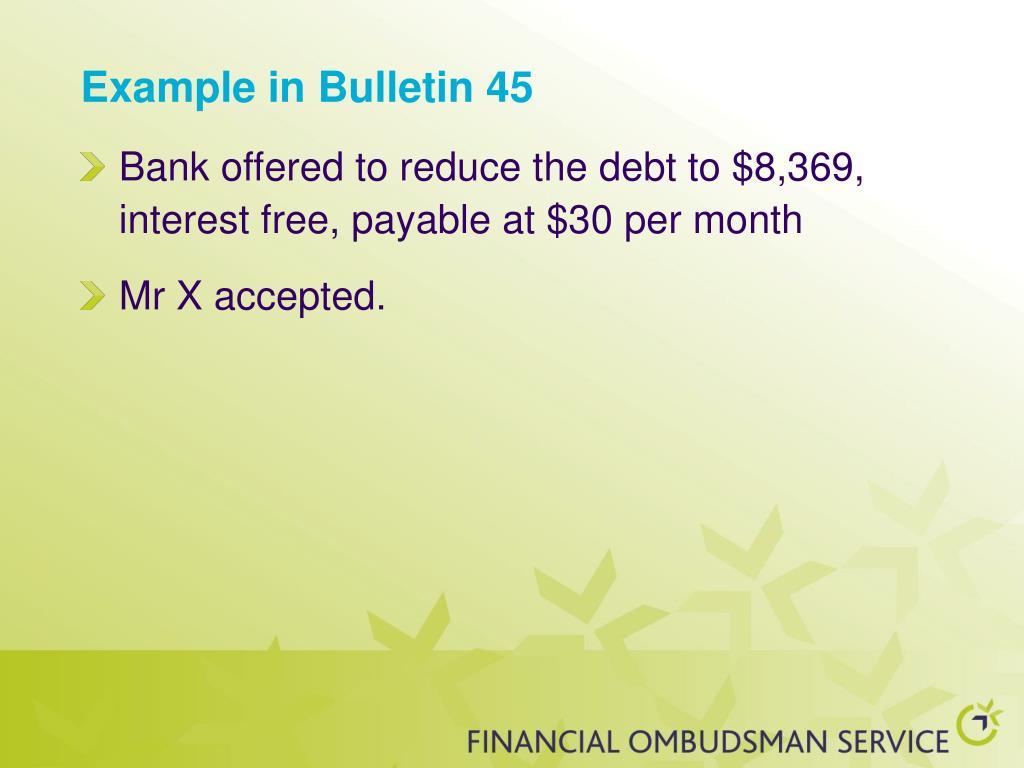 Example in Bulletin 45