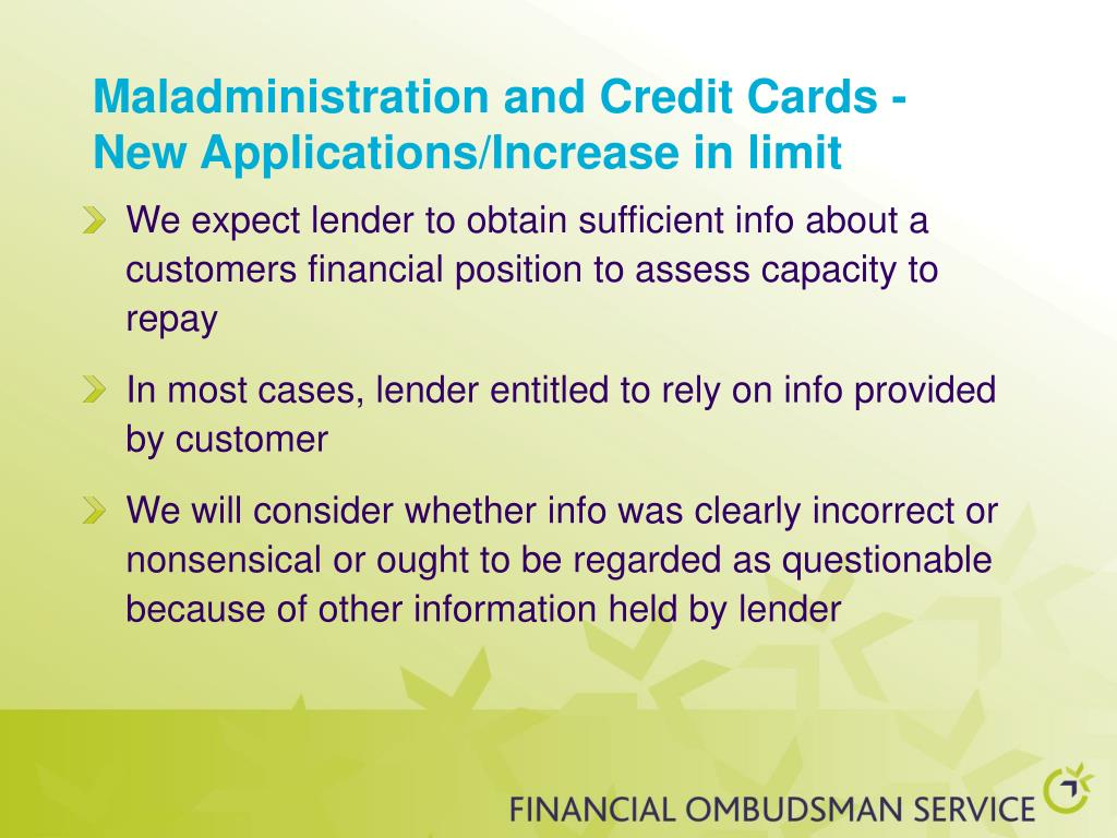 Maladministration and Credit Cards -