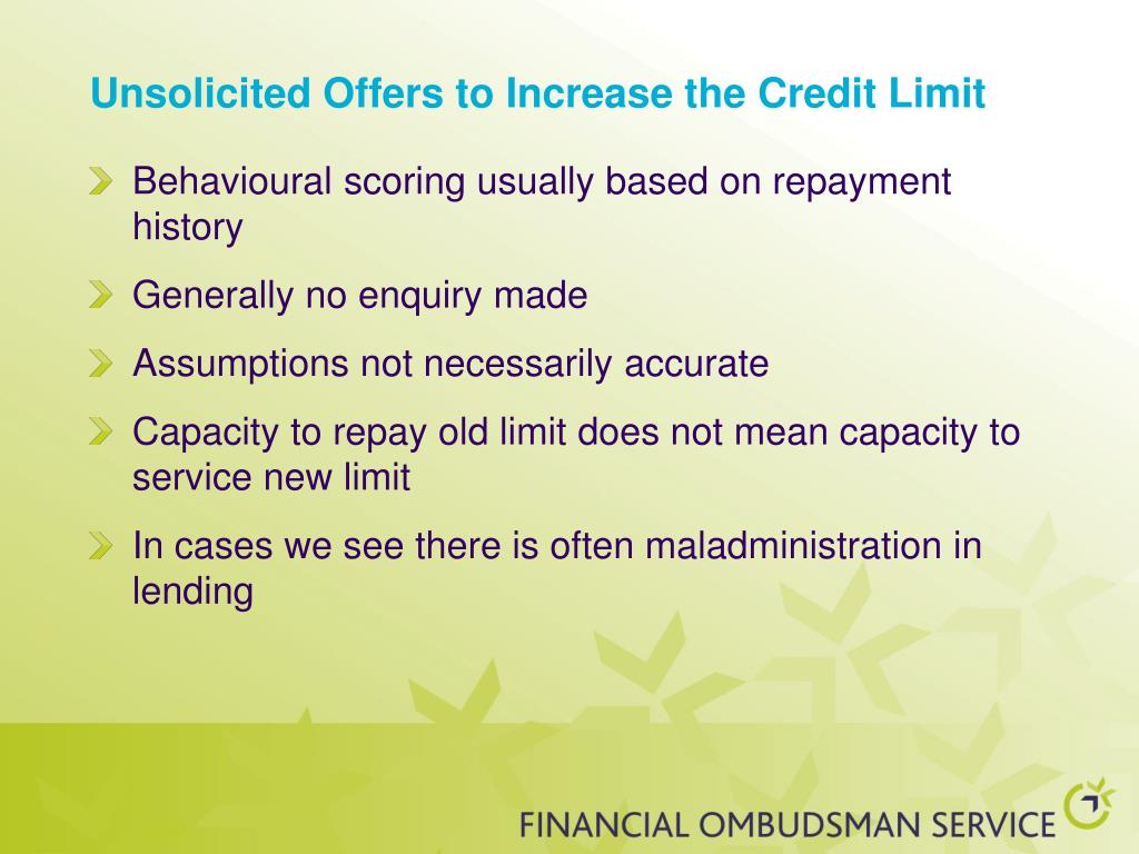 Unsolicited Offers to Increase the Credit Limit