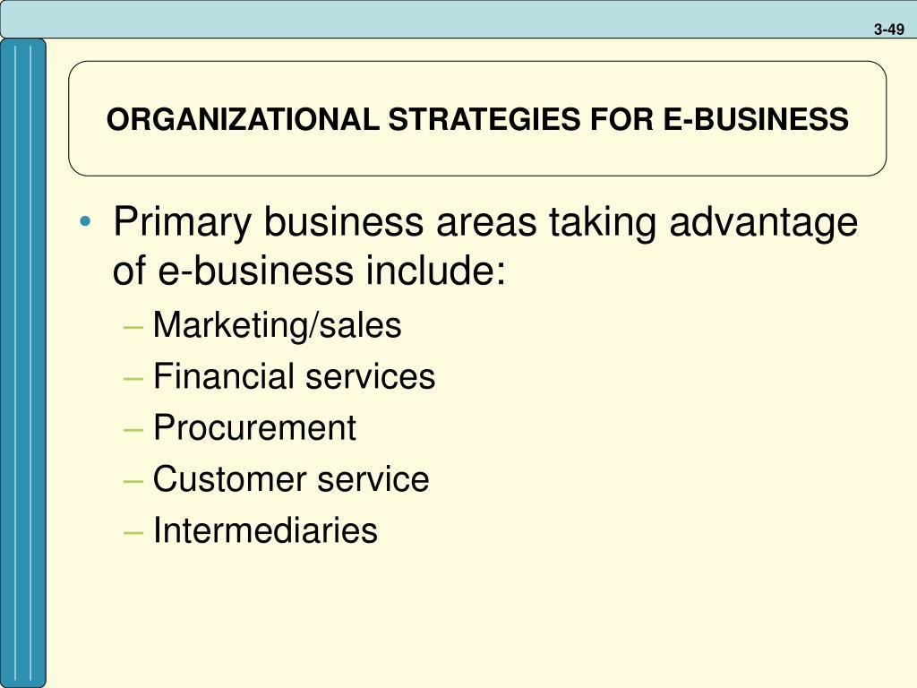ORGANIZATIONAL STRATEGIES FOR E-BUSINESS