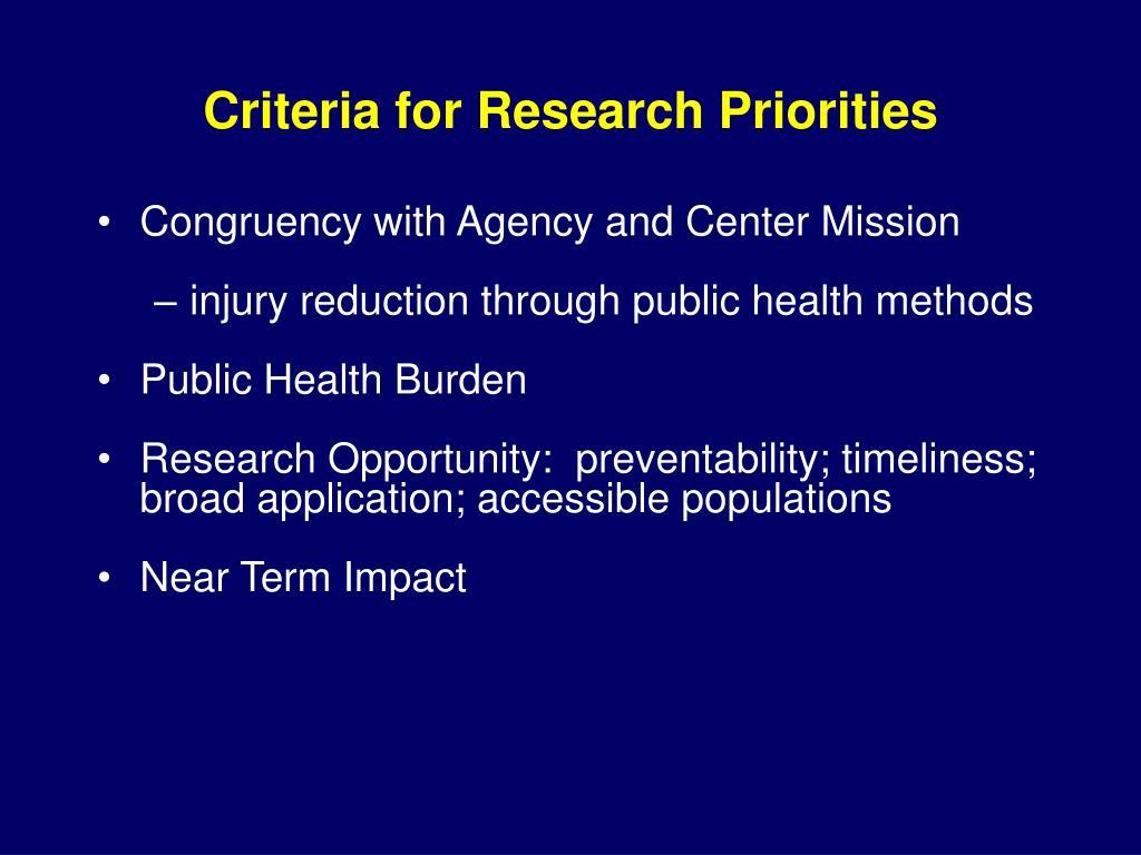 Criteria for Research Priorities
