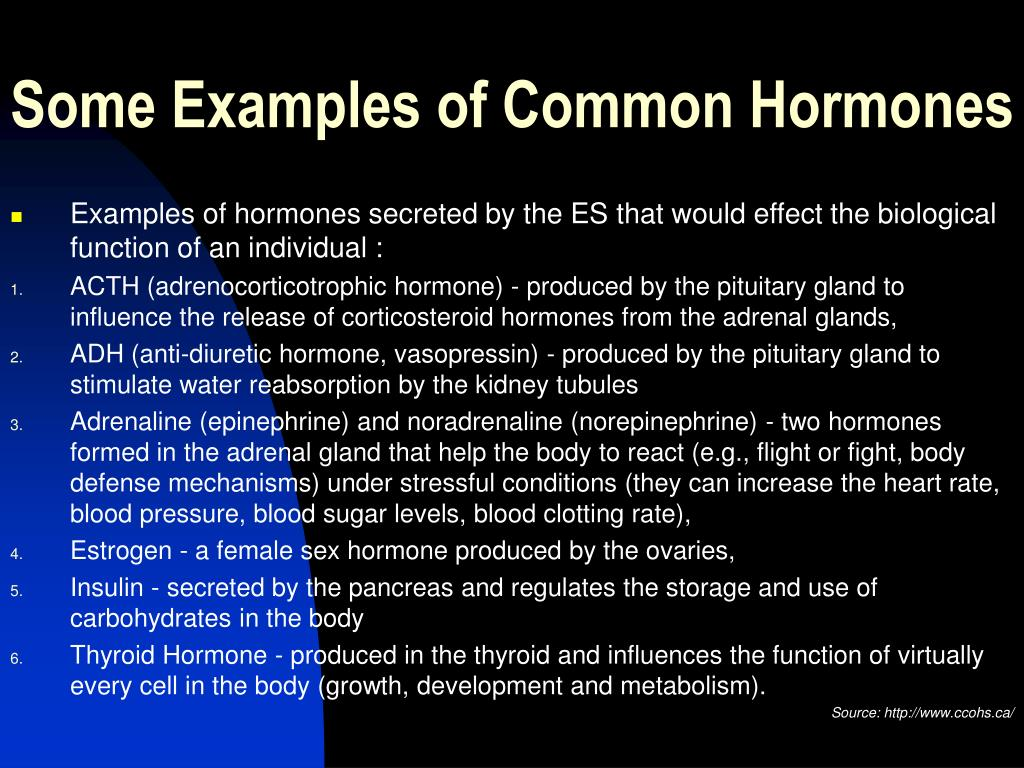 Some Examples of Common Hormones