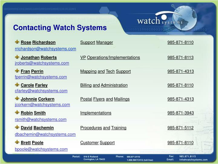 Contacting watch systems
