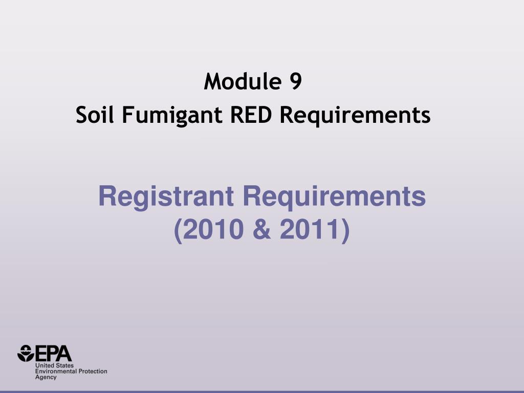registrant requirements 2010 2011
