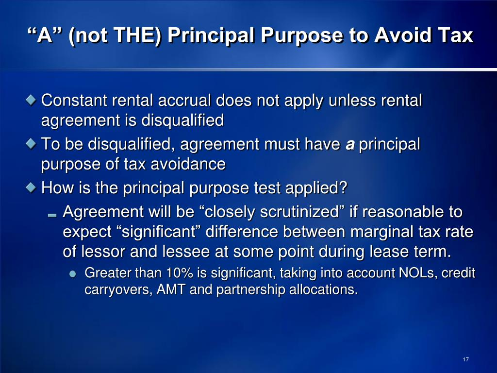 """""""A"""" (not THE) Principal Purpose to Avoid Tax"""