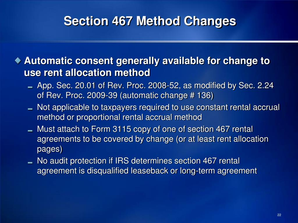 Section 467 Method Changes
