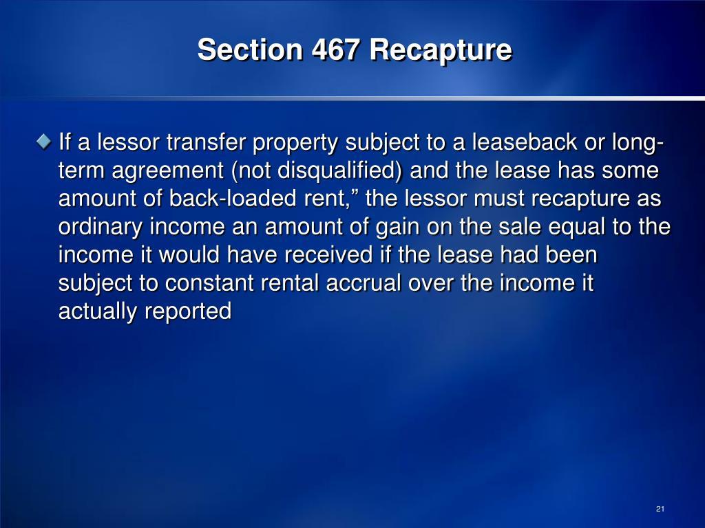 Section 467 Recapture