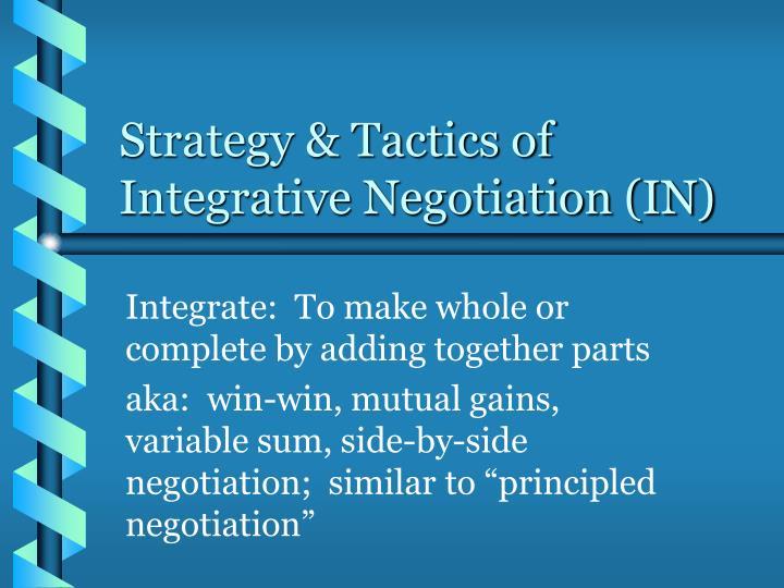 strategy tactics of integrative negotiation in n.