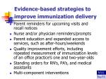 evidence based strategies to improve immunization delivery