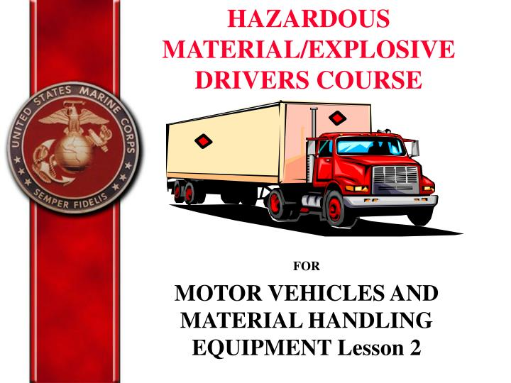 for motor vehicles and material handling equipment lesson 2 n.