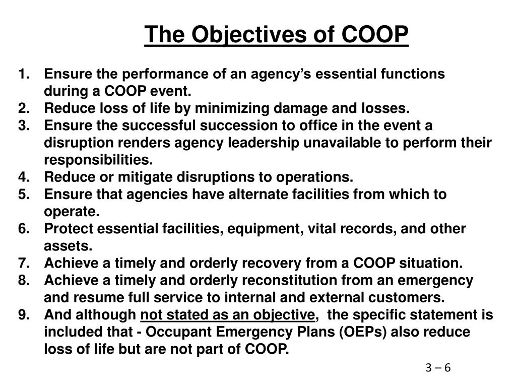The Objectives of COOP