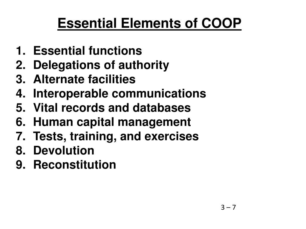 Essential Elements of COOP