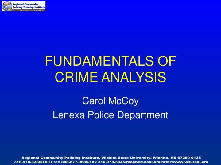 fundamentals of crime analysis n.