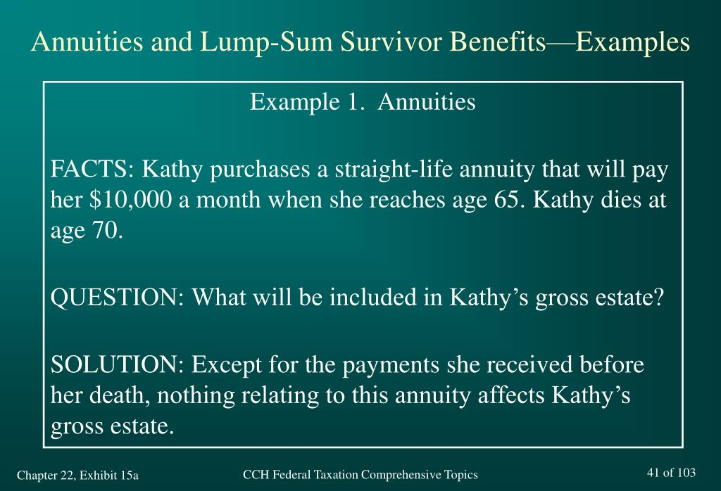 Annuities and Lump-Sum Survivor Benefits—Examples