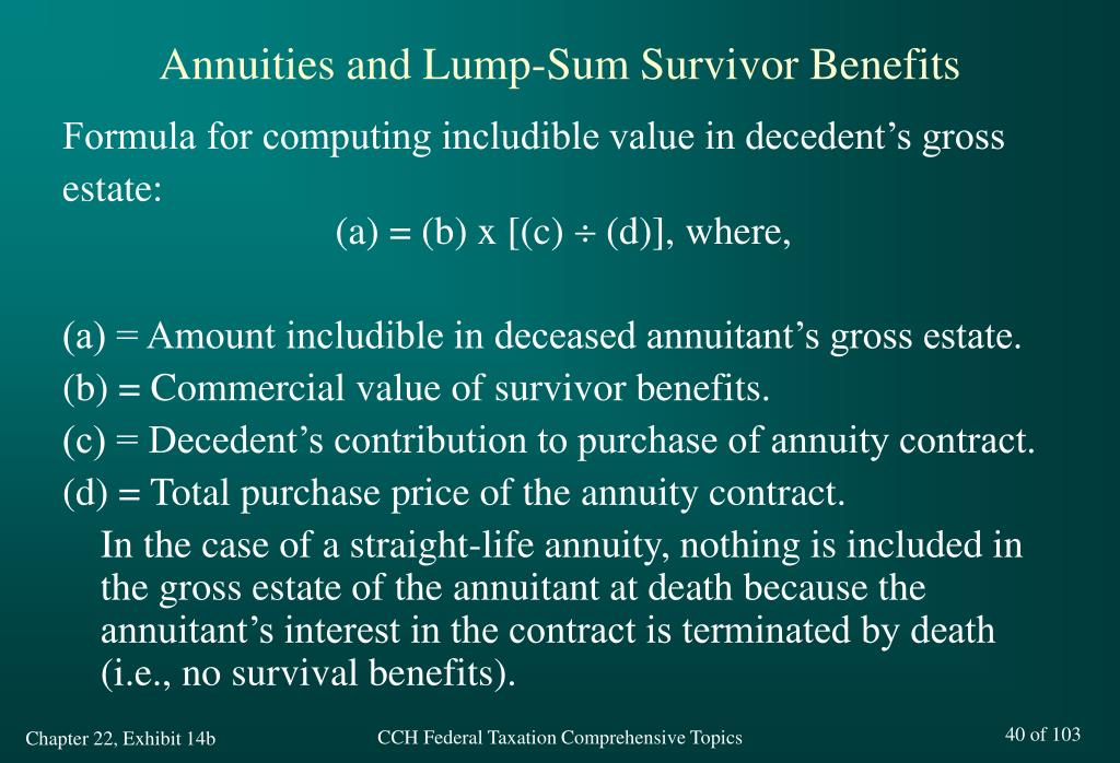Annuities and Lump-Sum Survivor Benefits